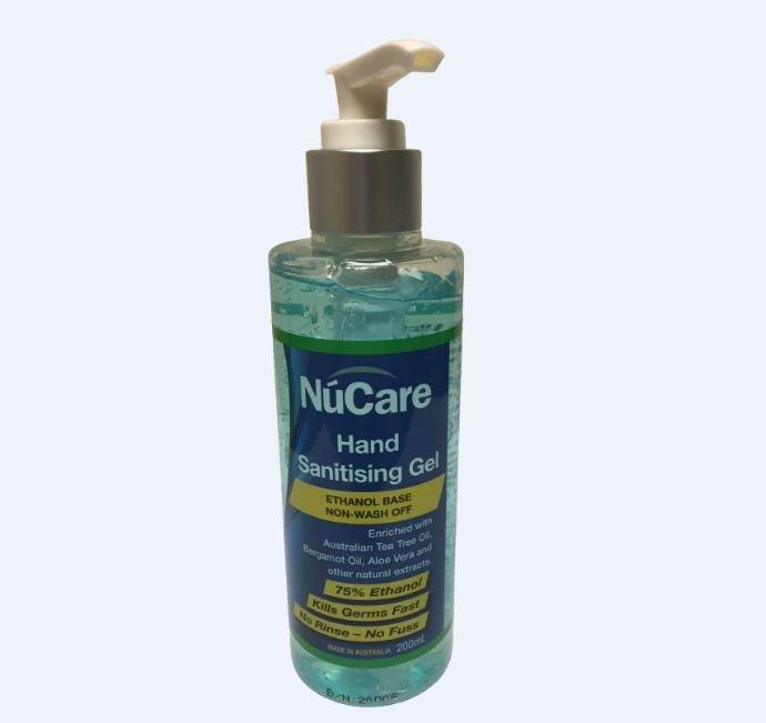 NUCARE HAND SANITISING GEL 200ML (75% ETHANOL)