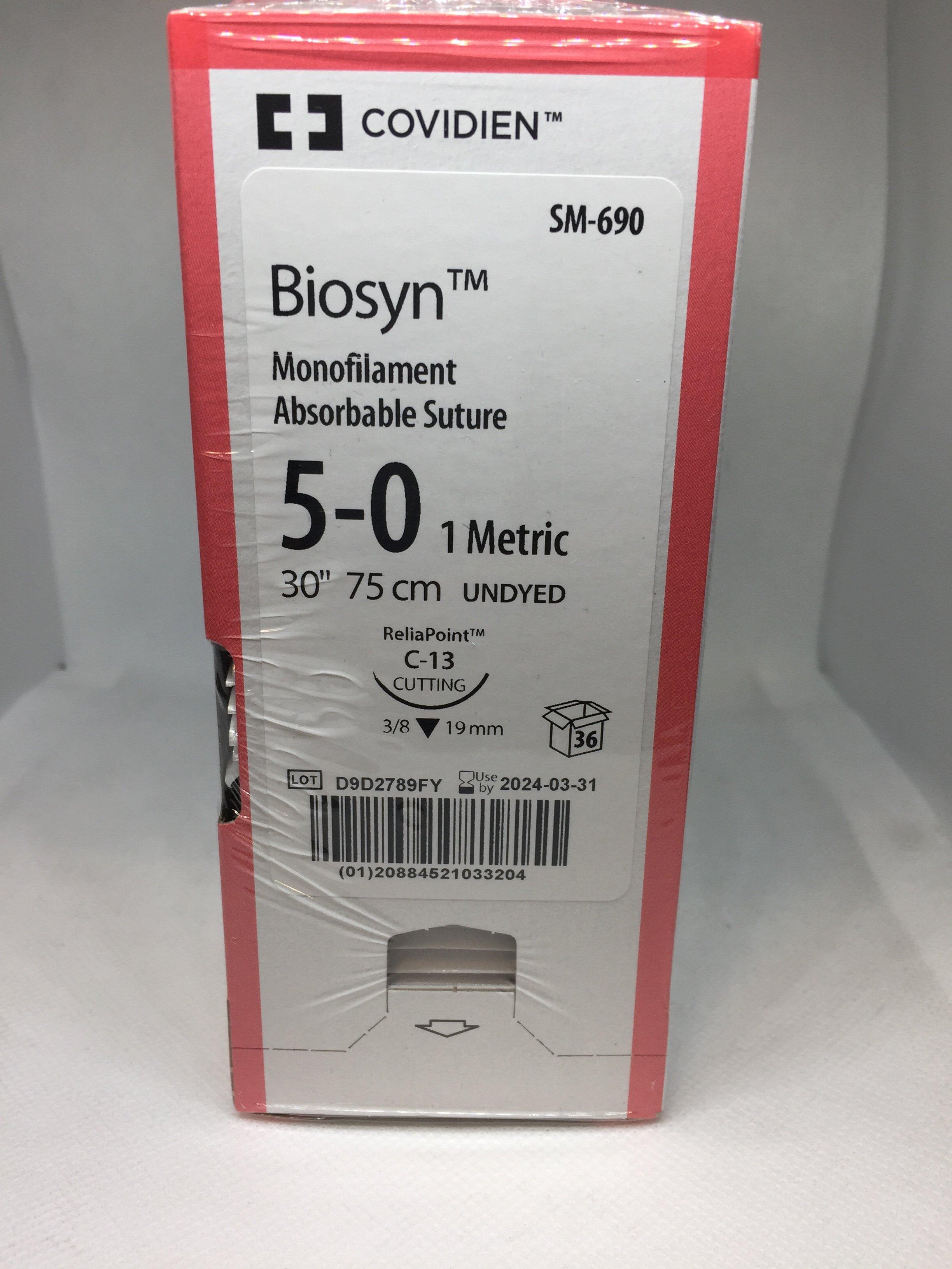 BIOSYN SUTURE UNDYED 5/0 C-13 19MM 75CM, 36