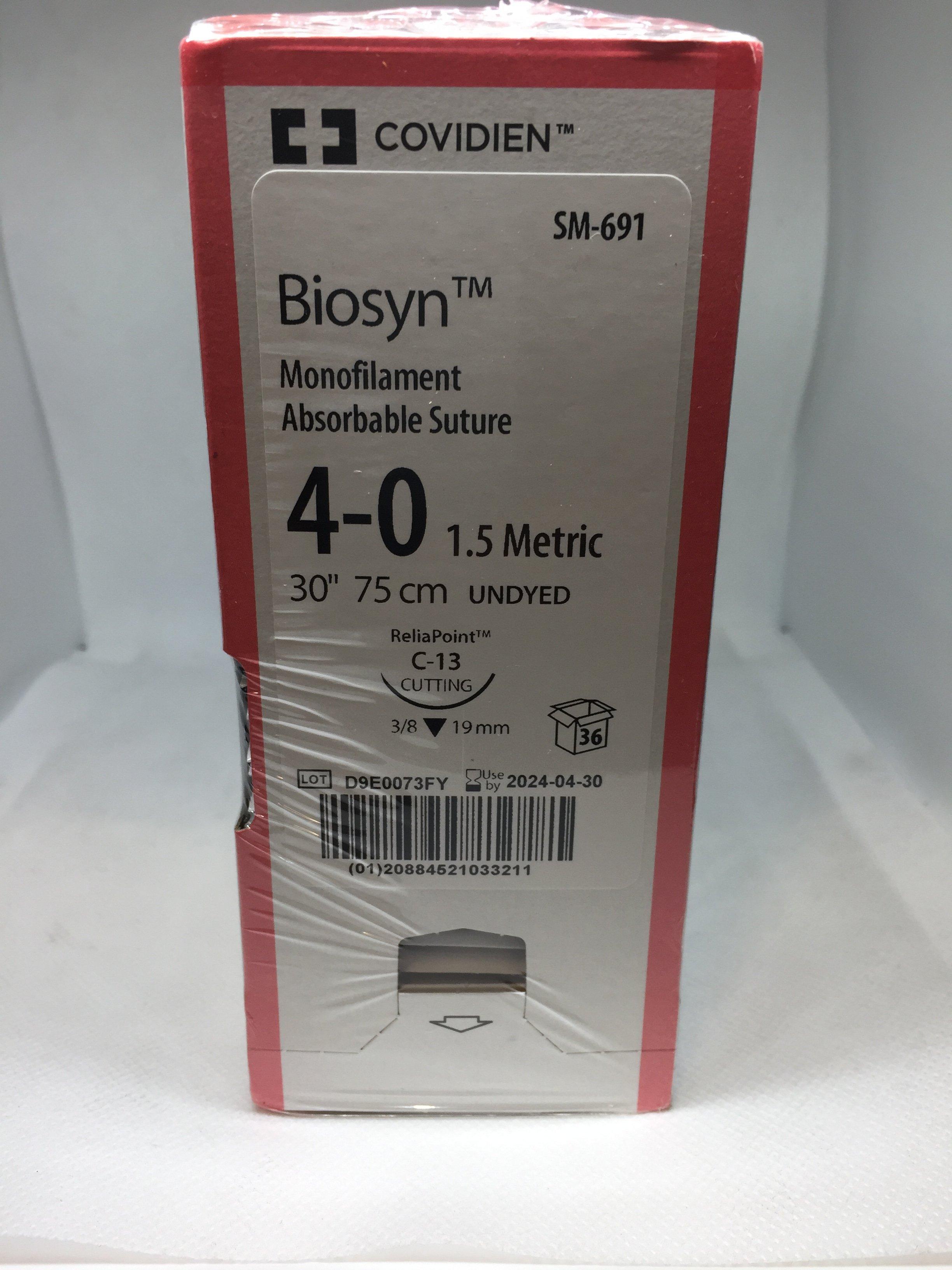 BIOSYN SUTURE UNDYED 4/0 C-13 19MM 75CM, 36