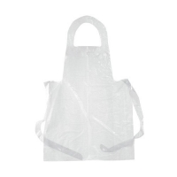 DISPOSABLE WHITE PLASTIC APRONS 85CM X 130CM, 100